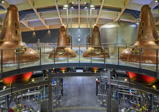 UK. Scotland. Moray. Craigellachie. Construction of the new Macallan distillery. May 2018. The stills
