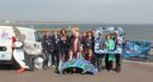 Children from Kirkhill Primary with dolphin Oceana at the Torry Battery