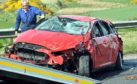 RTA Road Traffic Accident at Toll of Burness involving a red Ford Focus, Red Astra and a lorry. Picture by COLIN RENNIE  May 25, 2018.