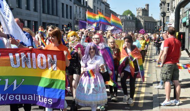 Last year's Grampian Pride march down Union Street