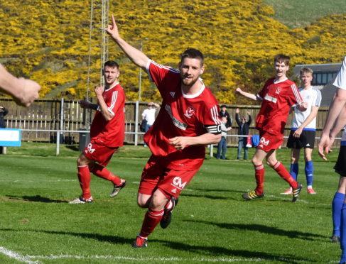Graeme Watt celebrates his goal for Deveronvale FC against Nairn County FC at Princess Royal park, Banff.