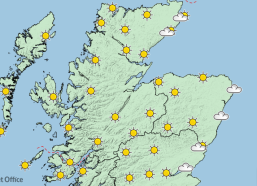 Scotland Weather Map.Sunshine Ahead For Scotland But More Fog Forecast For North East