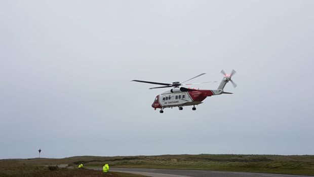 The coastguard helicopter