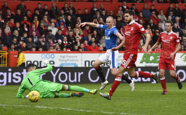 Kenny Miller, pictured scoring at Pittodrie in December, has been linked with a move to Aberdeen.