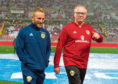 29/05/18 INTERNATIONAL FRIENDLY  PERU v SCOTLAND (2-0)  ESTADIO NACIONAL DE LIMA - PERU  Scotland's Johnny Russell (L) with manager Alex McLeish.