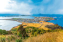 View from Seongsan Ilchulbong moutain in Jeju Island, South Korea.
