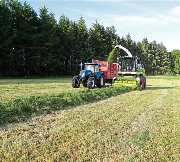 Scott Taylor sent in this picture of silage making at Haddo Estate, Methlick. The contractors were Eric H Gibson from New Deer.