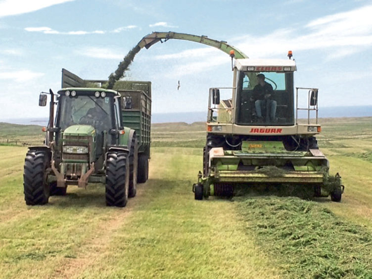 Raymond Garrick sent this picture of R GARRICK Agri services taking in a good first cut this week for the dairy herd at Quendale Farm, Shetland.