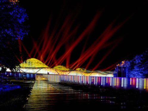 Lights and laser show at the launch of Macallan's new distillery. Picture: Mark Power.
