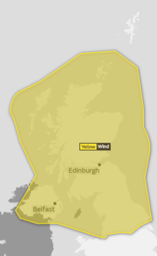The Met Office has issued a yellow be aware warning