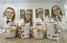 Picture by JASON HEDGES    Pupils from Milne's High in Fochabers are pictured with their creations for Baxters in Fochabers.  L2R -   Freya Hughson, Emma Jane Morrison, Megan Keddie, Dionne Campbell all in year s2.