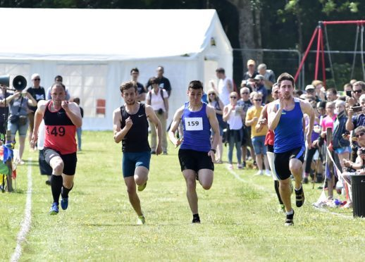 Racers at the Cornhill Highland Games.