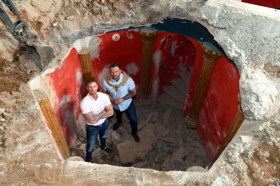 Paul Gibson and Dean Smart surveying the crypt inside the former Masonic Lodge on Western Road, Aberdeen.
