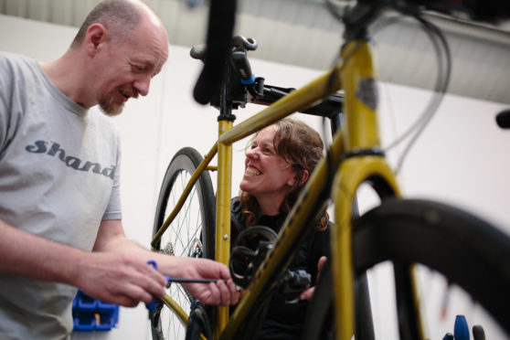 Bike constructor Steven Shand and cyclist Jenny Graham ahead of the challenge this weekend