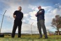 Pictured at the proposed site near the airport are CEO Mark Radcliffe (left) and head fundraising manager Charlie Marshall