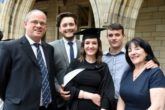 Roisean Farquhar is flanked by her family from left: Gavin Farquhar, Euan Dawson, boyfriend, Conall Farquhar, brother and Lynda Farquhar, mum