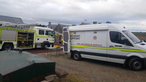 Emergency crews were on the scene of the fire in Aberchirder last night