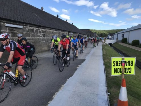 Cyclists took part in the Glen Moray Bike Ride yesterday.
