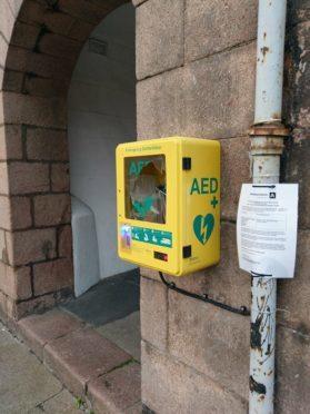 The defibrillator at Market Square in Stonehaven