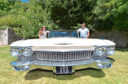 Gina and Keith Stewart with a 1960 Cadillac, which comes in at almost 7ft wide and 20ft long.
