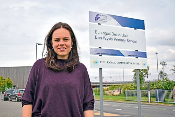 Kate Forbes outside Ben Wyvis Primary School