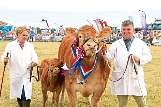 Sarah-Jane Jessop and Dougie McBeath with the overall winner – cow Brockhurst Lucy and her heifer calf.