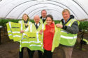 From left to right: Ringlink's Gail Robertson, Graham Bruce and Peter Wood with Rural Minister Mairi Gougeon and James Porter of East Scryne Fruit Farm.
