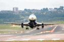 Aberdeen Airport, aircraft taking off.
