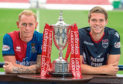 Inverness Carl Tremaco and Ross County Marcus Fraser with spfl trophy