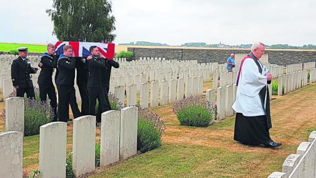 A burial service for Able Seaman James Cameron Robertson
