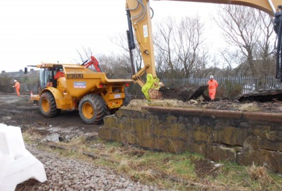 Work on the lines at Kittybrewster between Aberdeen & Dyce. Credit: Scotrail