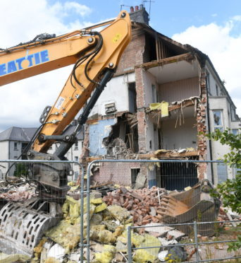 The demolition of the flats in Logie Avenue.