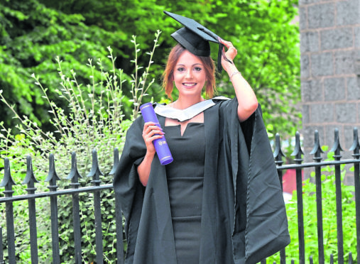 Caroline Litts, 26, graduated with a first class honours in nutrition studies yesterday