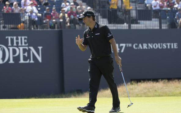 Kevin Kisner on the 18th hole during day one of the 147th Open.