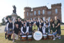 City of Inverness Pipe Band with LCC staff and Provost Helen Carmichael.