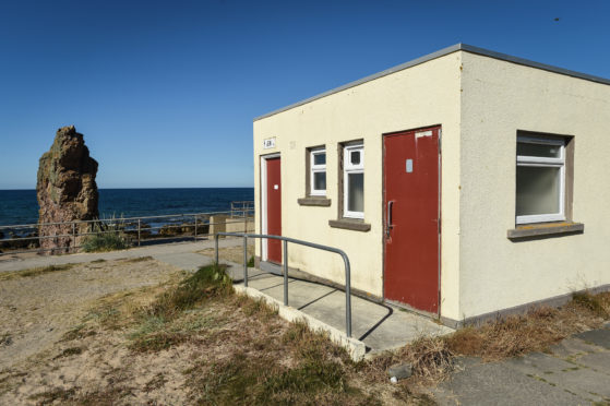 The closed toilets at Cullen Beach, Moray.