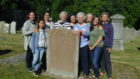Katherine Downey, fourth from right, and other descendants of James Robertson at the gravestone