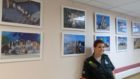 Kaylee Robertston and the display at the Gilbert Bain Hospital