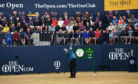 Sandy Lyle hits the opening shot during the first round of the 147th Open championship.
