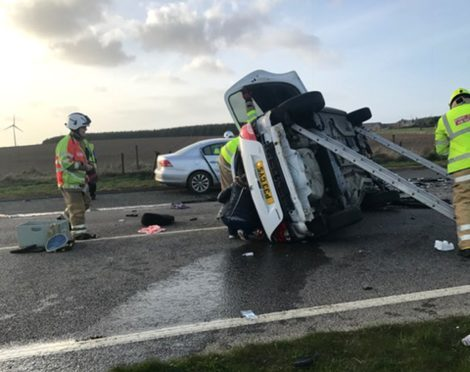 The crash on the A90 near the Toll of Birness on April 5 2017.