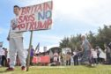Trump protesters at the Trump International Golf Links at Menie. Picture by COLIN RENNIE    July 14, 2018.