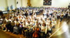 A world record attempt at the largest ceilidh band at Mackie academy, Stonehaven.