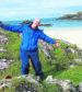A man who shattered his bones after tumbling off a Scottish cliff was forced to crawl 70 meters from the rising sea tide to avoid drowning.  Ged Dunsmore was stranded for five hours after falling in a remote part of Iona and was only saved when a mystery dog-walker from America summoned the Scottish Ambulance Service.