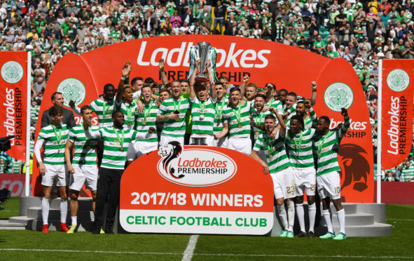 Celtic celebrate winning the Ladbrokes Premiership title.