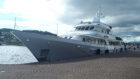 The yacht Monaco berthed at Inverness on a tour of the Highlands
