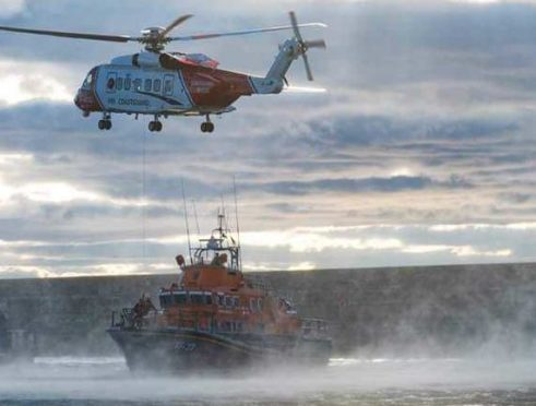 The scene in Buckie during the rescue operation. Picture by John Duncan/HM Coastguard Moray.