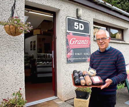 Stuart Grant outside the Grants of Dornoch shop. He has battle back from receivership to make the firm a success.