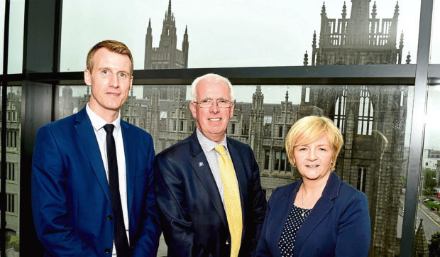 The launch of Invest Aberdeen at Marischal Square, Aberdeen. In the picture are from left: Allan McEwan, Cityfibre, Jim Gifford, Aberdeenshire council leader and Jenny Laing, Aberdeen council leader. Picture by Jim Irvine.