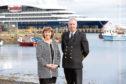 Retiring Lerwick Port Authority chief executive Sandra Laurenson with her successor, Calum Grains.