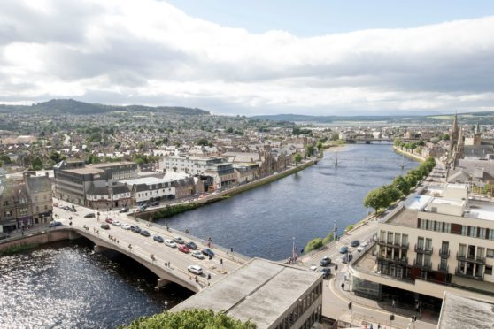 View of the River Ness, Ness Bridge, and western Inverness from the viewpoint at Inverness Castle.